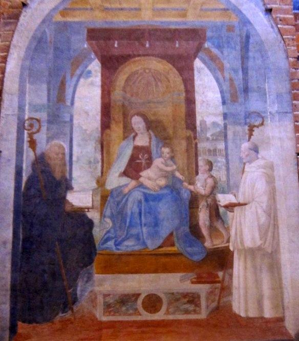 Madonna con Bambino tra i santi Bernardo e Benedetto - Bernardino Luini