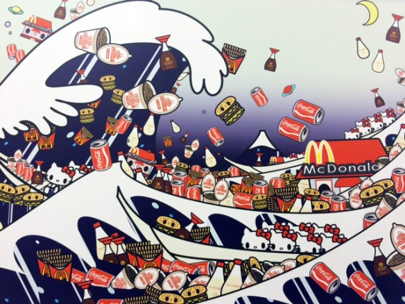 Tomoko Nagao - Hokusai-The Great Wave of Kanagawa with mc, cupnoodle, kewpie, kikkoman and kitty, 2012