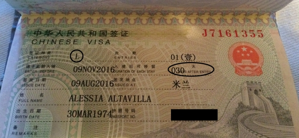 Visto gruppo L - Visto turistico per la Cina